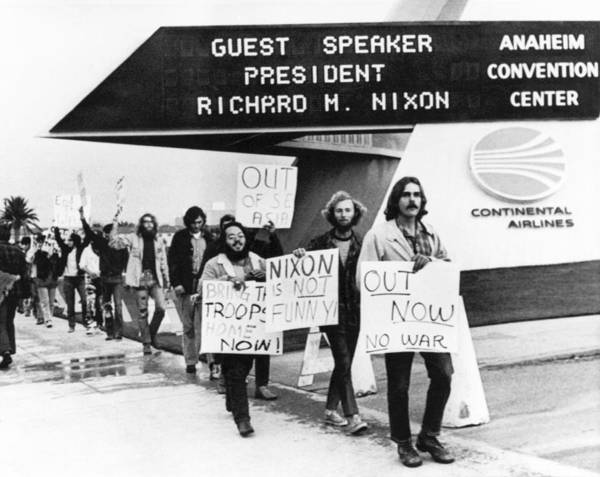 Demonstrators Photograph - Nixon Protest In Anaheim by Underwood Archives