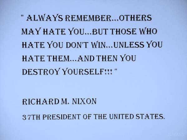 Capable Photograph - Nixon Quote In Cyan by Rob Hans
