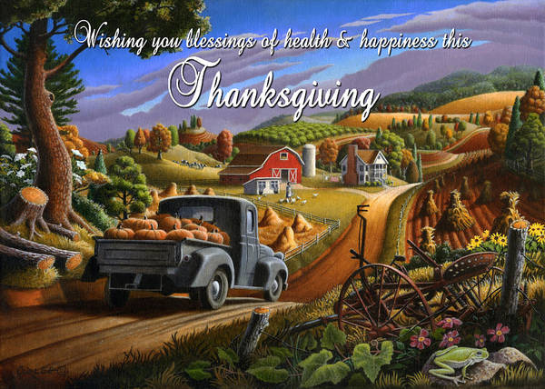 South Alabama Painting - no 17 Wishing you blessings of health and happiness this Thanksgiving by Walt Curlee