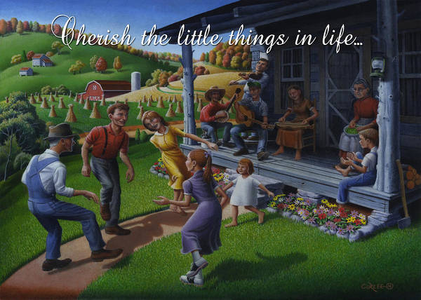 Wall Art - Painting - No 23 Cherish The Little Things In Life Friendship Greeting Card by Walt Curlee