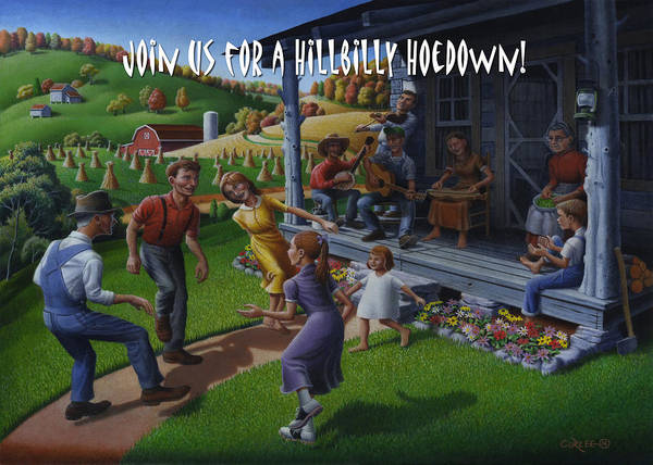 Wall Art - Painting - No 23 Join Us For A Hillbilly Hoedown Invitation Greeting Card by Walt Curlee