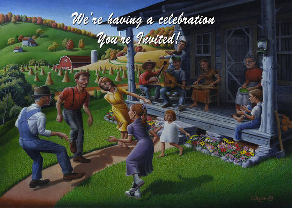 Wall Art - Painting - No 23 We Are Having A Celebration You Are Invited Invitation Greeting Card by Walt Curlee