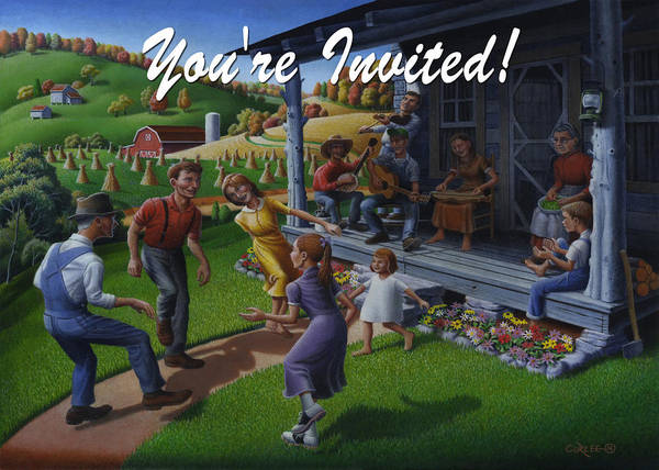 Wall Art - Painting - No 23 You Are Invited Invitation Greeting Card by Walt Curlee