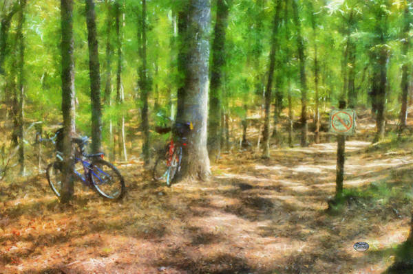 Hiking Digital Art - No Bikes Allowed by Daniel Eskridge
