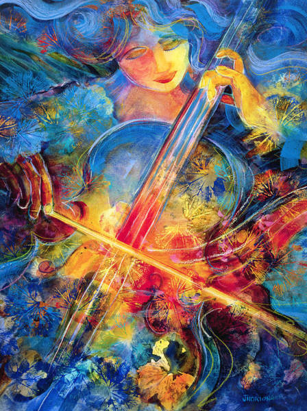 Cello Wall Art - Painting - No Blue Notes by Jen Norton