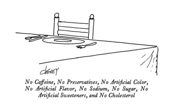 Dinner Plate Drawing - No Caffeine by Tom Cheney