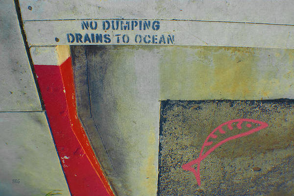 Storm Drain Photograph - No Dumping - Drains To Ocean No 2 by Ben and Raisa Gertsberg