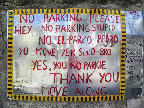 Photograph - No El Parko Pedro Sign by Jo Ann Tomaselli