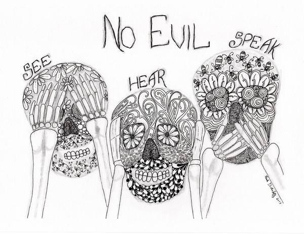 Zen Drawing - No Evil Skeletons by Paula Dickerhoff