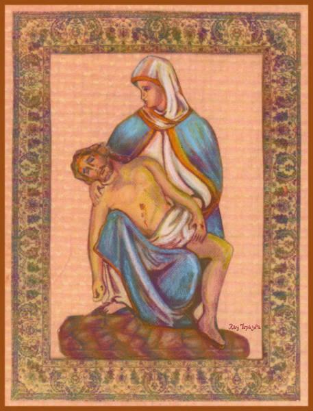 No Greater Love - Jesus And Mary  Art Print by Ray Tapajna