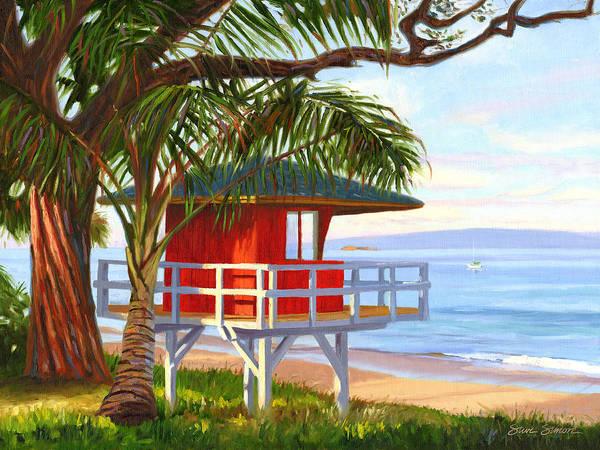 Wall Art - Painting - No Guard On Duty - Kamaole Beach by Steve Simon