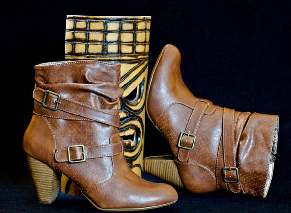 Photograph - Brown Boots With Wooden Mask by Patti Deters