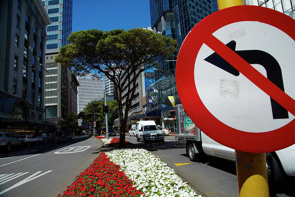 Central Business District Wall Art - Photograph - No Left Turn Sign, Flowers And Office by David Wall