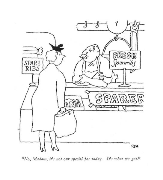 Butcher Drawing - No, Madam, It's Not Our Special For Today. It's by Gardner Rea
