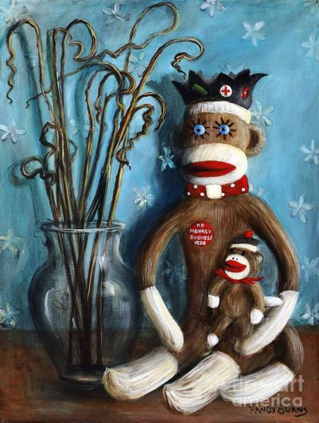 Sock Monkey Painting - No Monkey Business Here 1 by Randy Burns