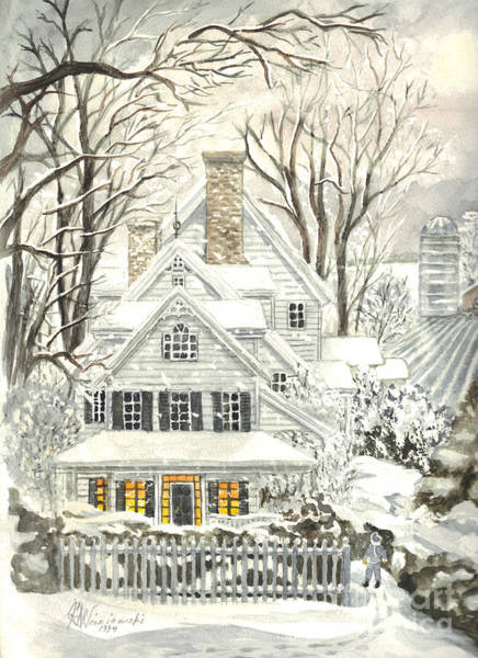 White Picket Fence Painting - No Place Like Home For The Holidays by Carol Wisniewski