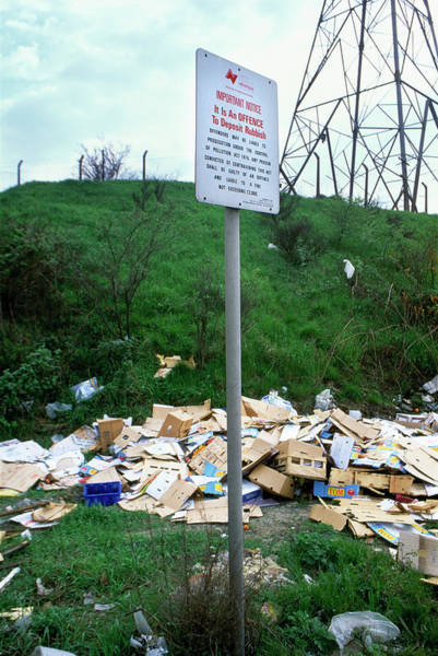 Litter Photograph - No Rubbish Dumping Sign by Robert Brook/science Photo Library