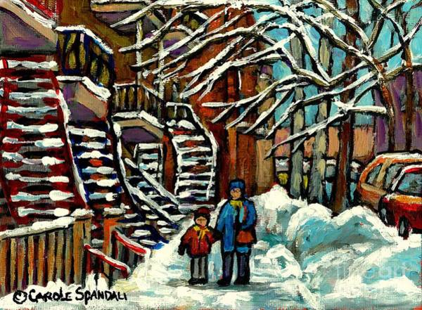 Painting - No School Today Out For A Snowy Walk Verdun Winter Winding Staircases Montreal Paintings C Spandau by Carole Spandau