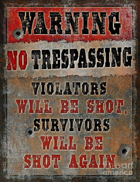 Painting - no Trespassing by JQ Licensing