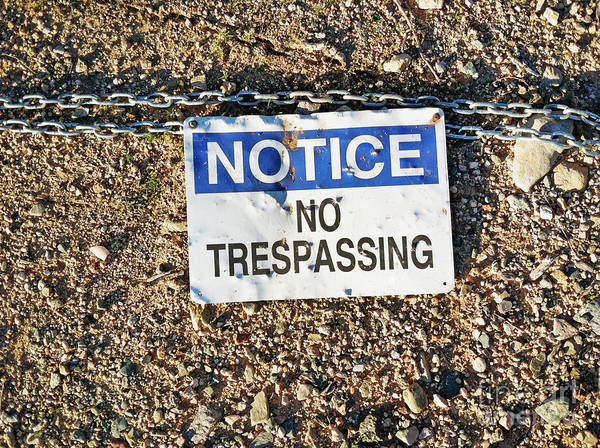 No Trespassing Sign On Ground Art Print