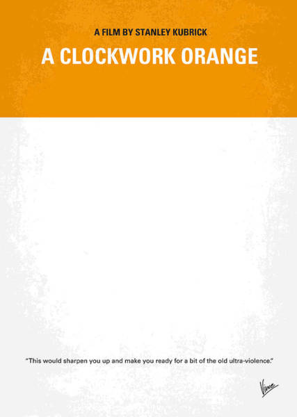 Sci-fi Photograph - No002 My A Clockwork Orange Minimal Movie Poster by Chungkong Art