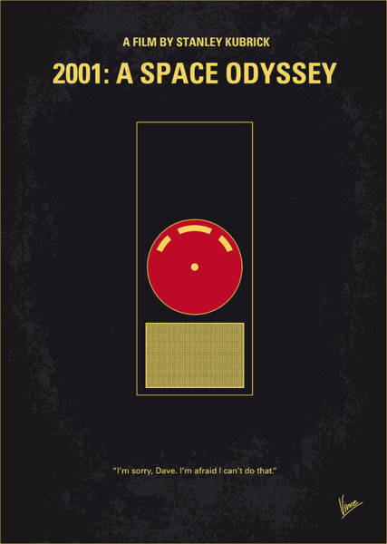 Intelligence Digital Art - No003 My 2001 A Space Odyssey 2000 Minimal Movie Poster by Chungkong Art