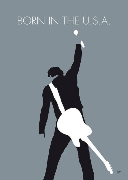 Simple Digital Art - No017 My Bruce Springsteen Minimal Music Poster by Chungkong Art