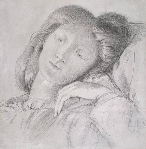 Beautiful Girl Drawing - Elizabeth Siddal, Circa 1860 by Dante Gabriel Charles Rossetti
