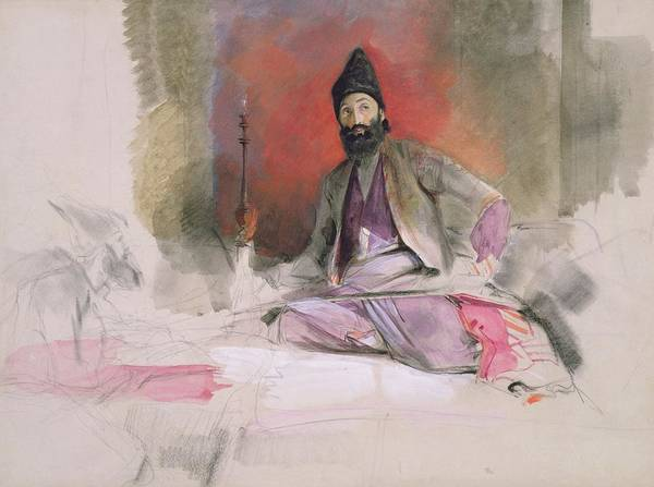 Arabian Drawing - No.0738 Study Of A Turkish Magnate by John Frederick Lewis