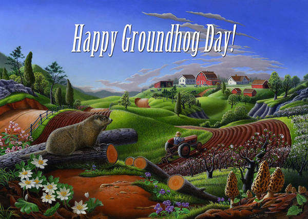 Groundhog Painting - no14 Happy Groundhog Day 5x7 greeting card  by Walt Curlee