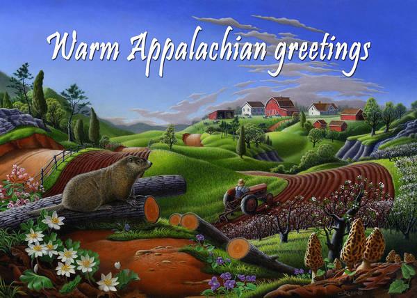 Groundhog Painting - no14 Warm Appalachian greetings 5x7 greeting card  by Walt Curlee