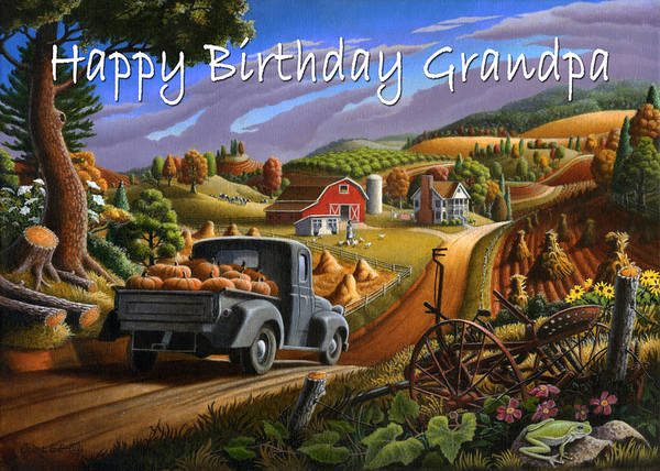South Alabama Painting - no17 Happy Birthday Grandpa by Walt Curlee