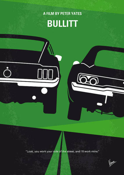 Cool Digital Art - No214 My Bullitt Minimal Movie Poster by Chungkong Art