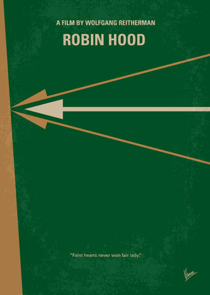 Disney Digital Art - No237 My Robin Hood Minimal Movie Poster by Chungkong Art