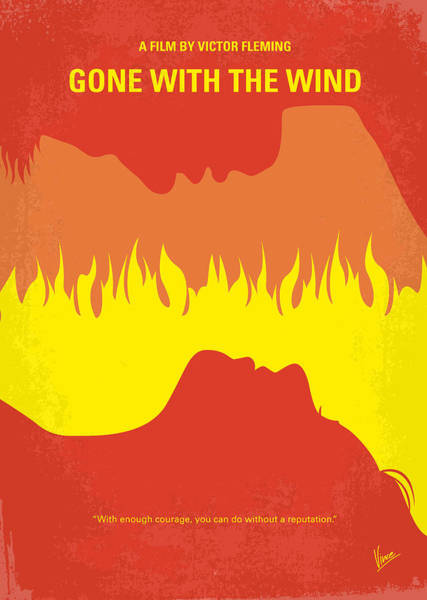 With Wall Art - Digital Art - No299 My Gone With The Wind Minimal Movie Poster by Chungkong Art