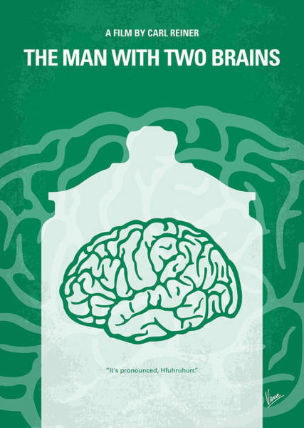 With Wall Art - Digital Art - No390 My The Man With Two Brains Minimal Movie Poster by Chungkong Art