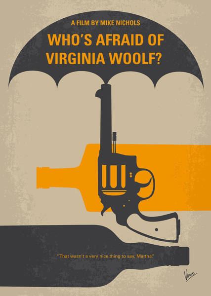 New Age Wall Art - Digital Art - No426 My Whos Afraid Of Virginia Woolf Minimal Movie Poster by Chungkong Art