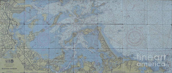 Stone Mixed Media - Noaa Chart Of Boston Harbor  by Creative Images on Tile