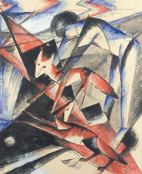 Noah Wall Art - Painting - Noah And The Fox by Franz Marc