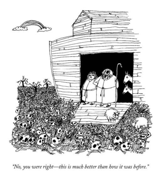 Noahs Ark Wall Art - Drawing - Noah, Speaking Upward To Heaven, Exits The Ark by Edward Steed