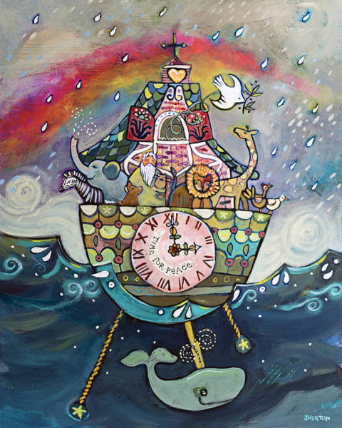 Clock Painting - Noah's Ark Cuckoo Clock Wall Art by Jen Norton