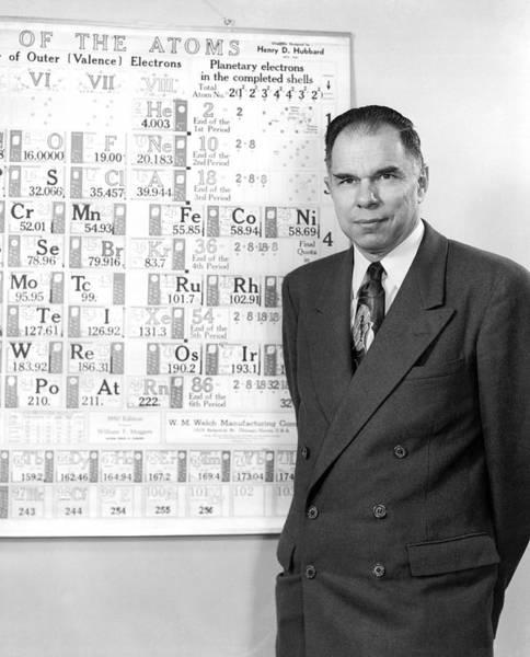 Periodic Table Photograph - Nobel Winner Glenn Seaborg by Underwood Archives