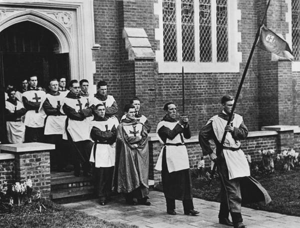 Procession Photograph - Noble Order Of Crusaders by Underwood Archives