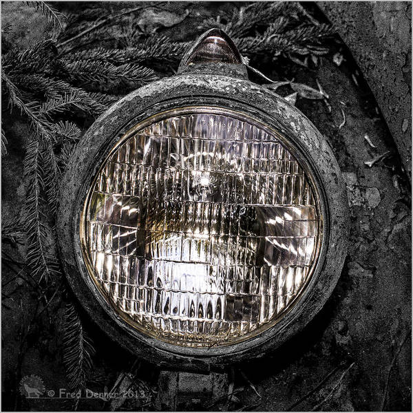 Photograph - Nobody's Truck Headlight by Fred Denner