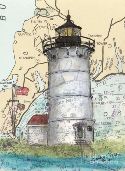 Wall Art - Painting - Nobska Pt Lighthouse Ma Cathy Peek Nautical Chart Map Art by Cathy Peek
