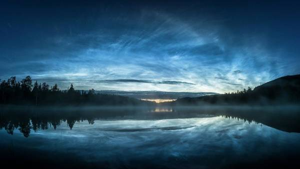 Treeline Photograph - Noctilucent Clouds Reflected In Water by Tommy Eliassen/science Photo Library