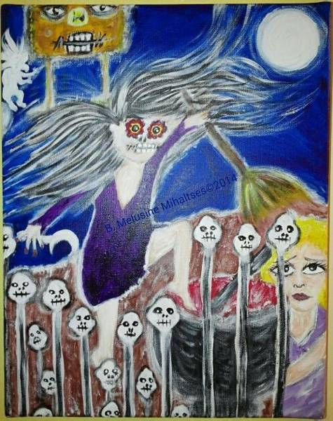 B. Melusine Mihaltses Wall Art - Painting - Nocturnal Frights With Baba Yaga by B Melusine Mihaltses