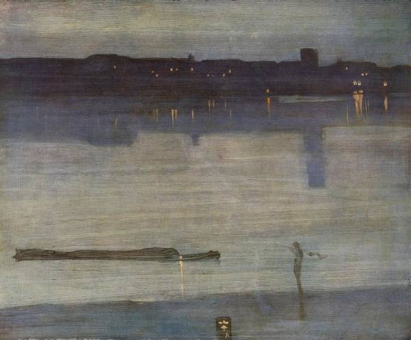 Riverbank Drawing - Nocturne In Blue And Green by James Abbott McNeill Whistler