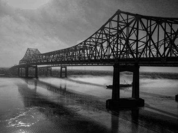 Photograph - Nola - Morning Fog At The Crescent City Connection by Lance Vaughn