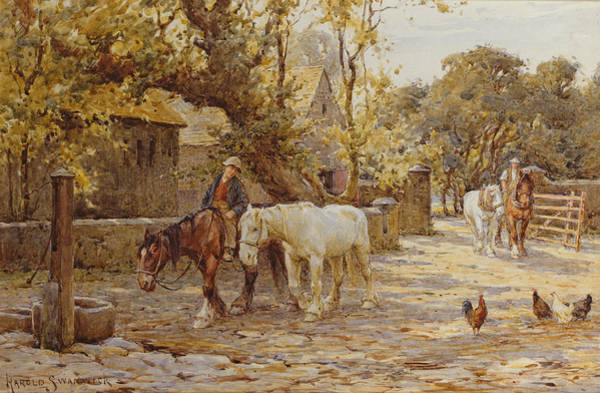 Ploughing Painting - Noon Day  by Joseph Harold Swanwick